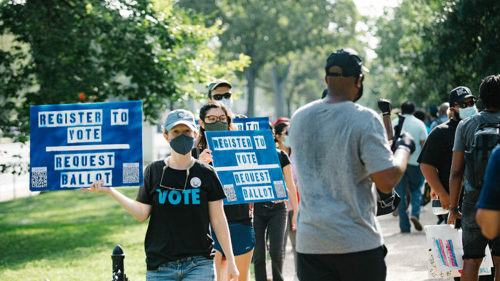 Georgia voting rights activists protest at the governor's mansion in 2020